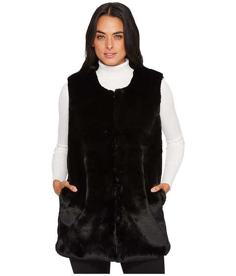 Imbracaminte Femei Vince Camuto Collarless Faux Fur Vest with Pockets Black