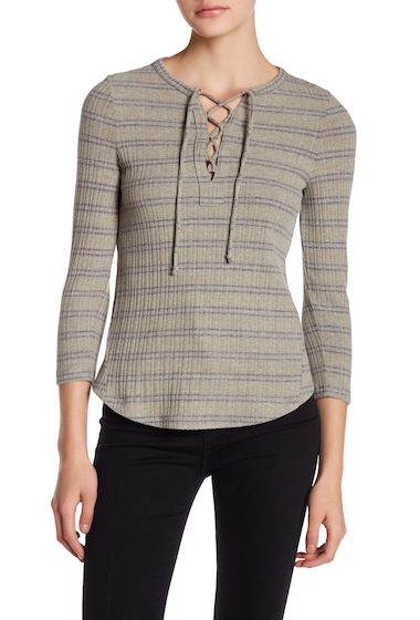 Imbracaminte Femei Lucky Brand Lace Up Ribbed Top OLIVE STRI