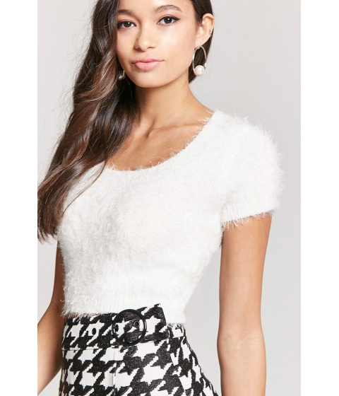 Imbracaminte Femei Forever21 Fuzzy Knit Cropped Top WHITE