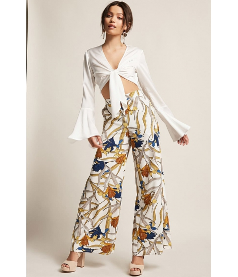 Imbracaminte Femei Forever21 Floral Palazzo Pants CREAMBLUE