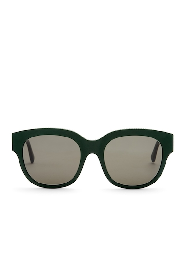 Ochelari Femei Stella McCartney Womens Chain Trimmed Square Sunglasses MATTE GREEN