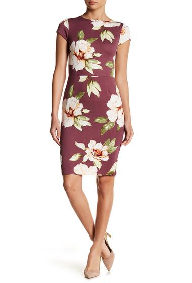 Imbracaminte Femei LOVEAdy Printed Cap Sleeve Sheath Dress DEEP PLUM MULTI