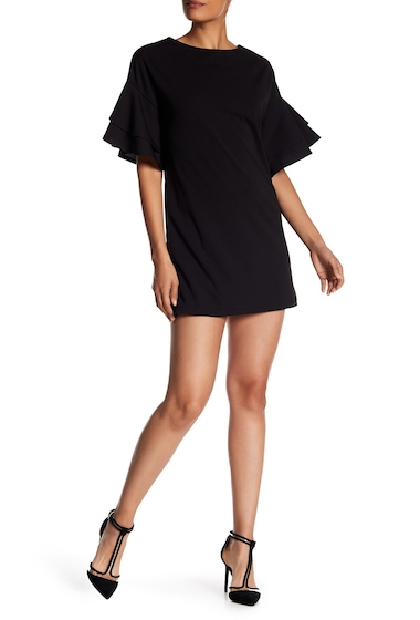 Imbracaminte Femei Vanity Room Tiered Sleeve Crepe Dress Regular Petite BLACK