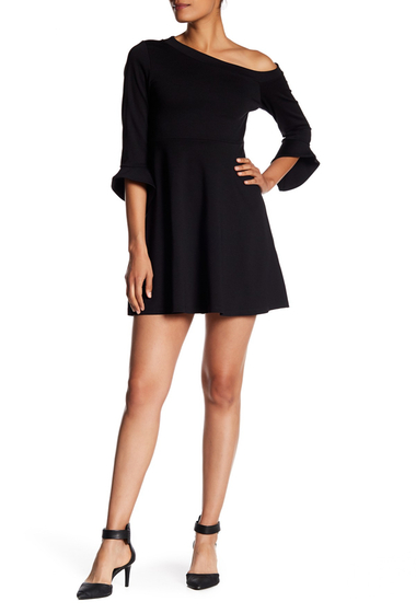 Imbracaminte Femei Vanity Room One-Shoulder Tulip Sleeve Dress BLACK