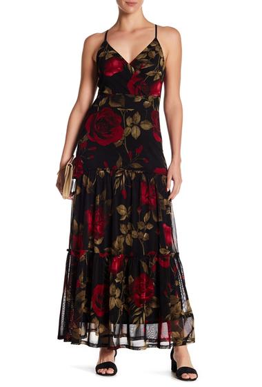 Imbracaminte Femei WEST KEI Mesh Red Rose Surplice Floral Maxi Dress REDROSE