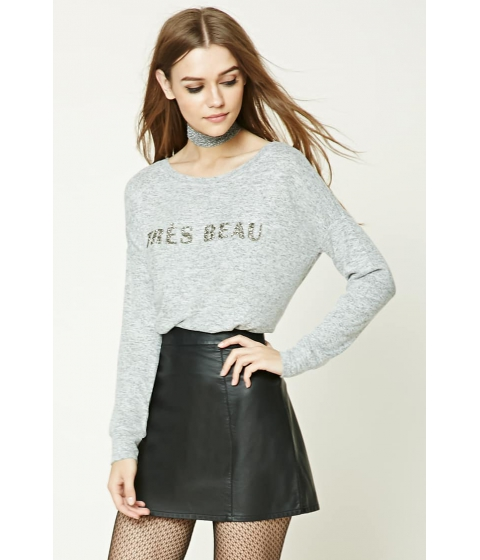 Imbracaminte Femei Forever21 Marled Knit Tres Beau Top CREAMGREY