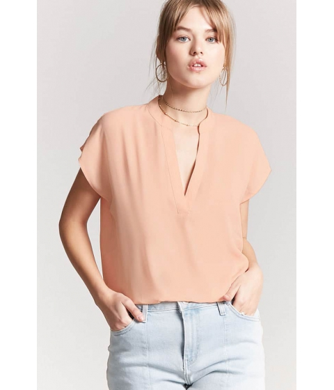 Imbracaminte Femei Forever21 Mandarin-Collar Woven Top BLUSH
