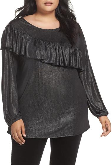 Imbracaminte Femei Sejour Long Sleeve Ruffle Top Plus Size BLACK- SILVER METALLIC