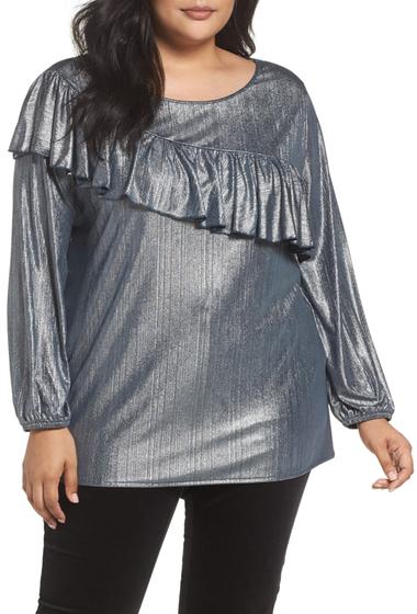 Imbracaminte Femei Sejour Long Sleeve Ruffle Top Plus Size NAVY M SILVER METALLIC