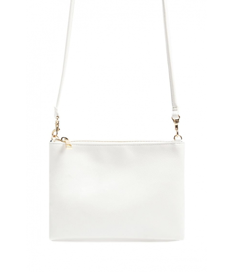 Genti Femei Forever21 Textured Faux Leather Crossbody Bag WHITE
