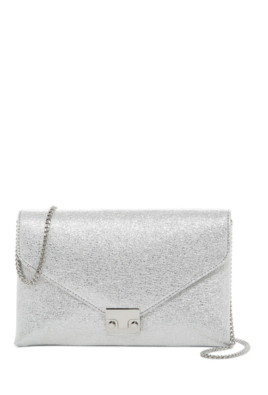 Genti Femei Loeffler Randall Signature Lock Leather Clutch SILVER