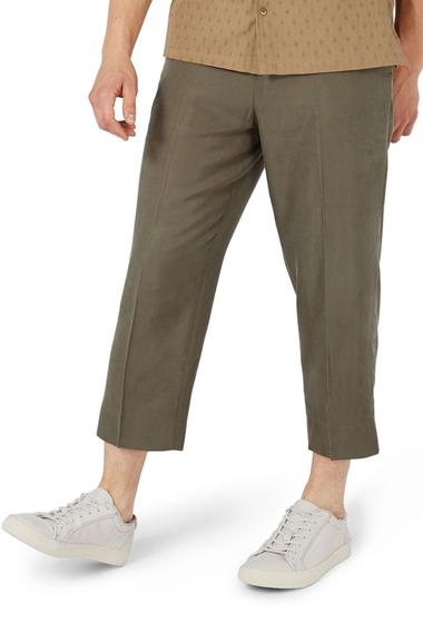 Imbracaminte Barbati TOPMAN Crop Wide Leg Trousers OLIVE