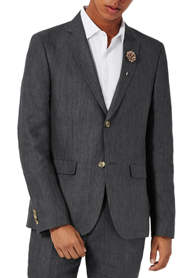 Imbracaminte Barbati TOPMAN Skinny Fit Linen Suit Jacket CHARCOAL