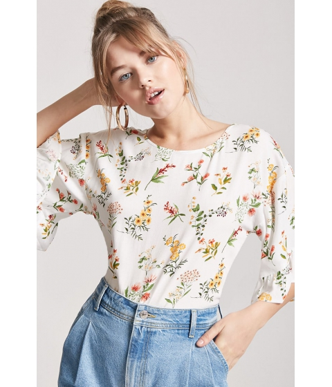 Imbracaminte Femei Forever21 Floral Print Flounce-Sleeve Top IVORYYELLOW