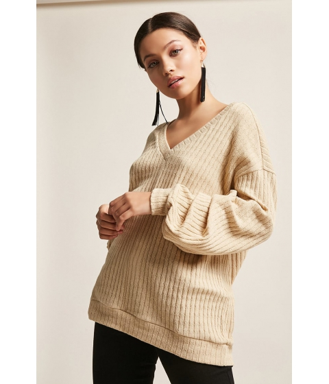 Imbracaminte Femei Forever21 Distressed Sweater-Knit Top TAUPE