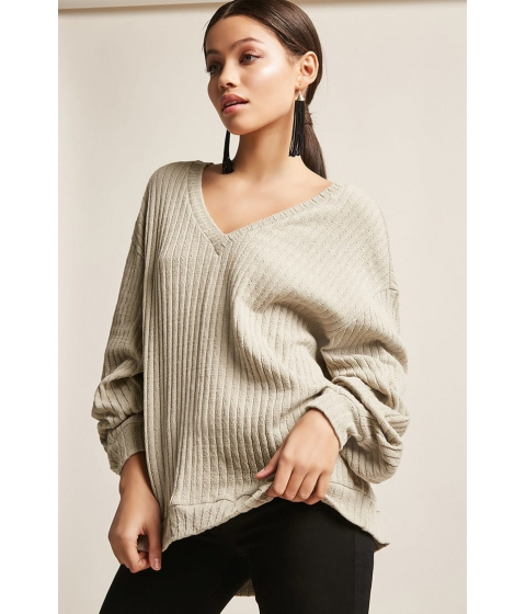 Imbracaminte Femei Forever21 Distressed Sweater-Knit Top OLIVE