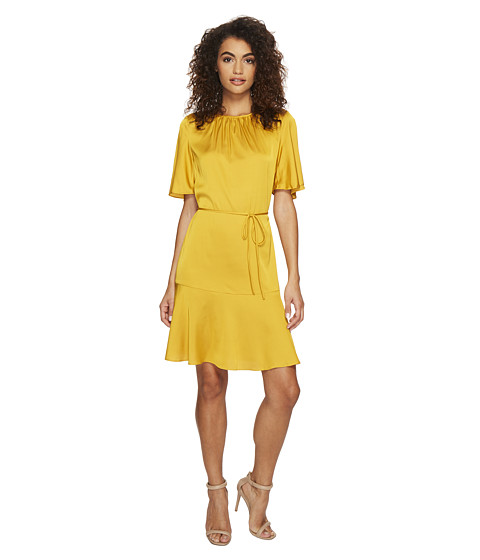 Imbracaminte Femei Donna Morgan Flared Dress with Shirred Neckline and Belt Yellow Sapphire