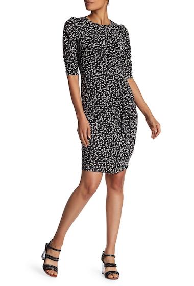 Imbracaminte Femei Rebecca Taylor Short Sleeve Print Ruched Dress BLACK