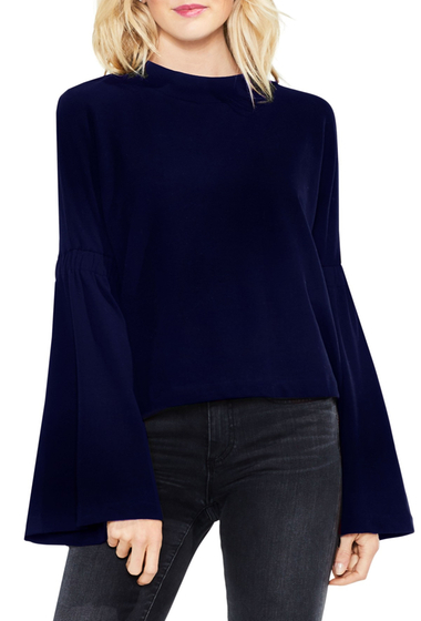 Imbracaminte Femei Vince Camuto Mock Neck Bell Sleeve Blouse Petite BLUE NIGHT