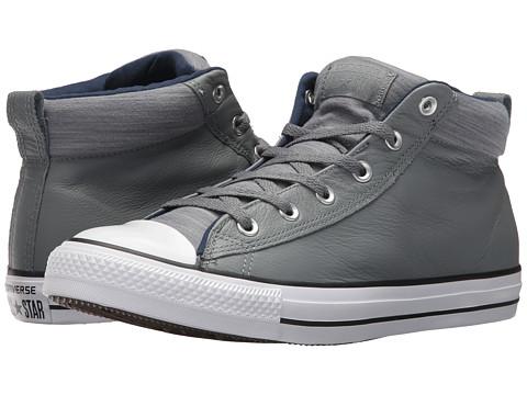 Incaltaminte Barbati Converse Chuck Taylorreg All Starreg High Street Leather w Fleece Mid Cool GreyMidnight Navy