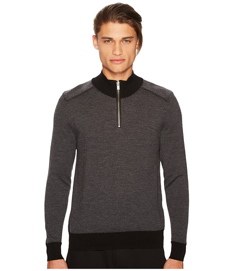 Imbracaminte Barbati The Kooples Zip-Collar Pullover with Shoulder Yokes Grey
