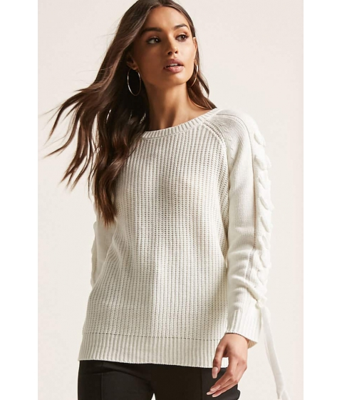 Imbracaminte Femei Forever21 Lace-Up Sleeve Sweater IVORY