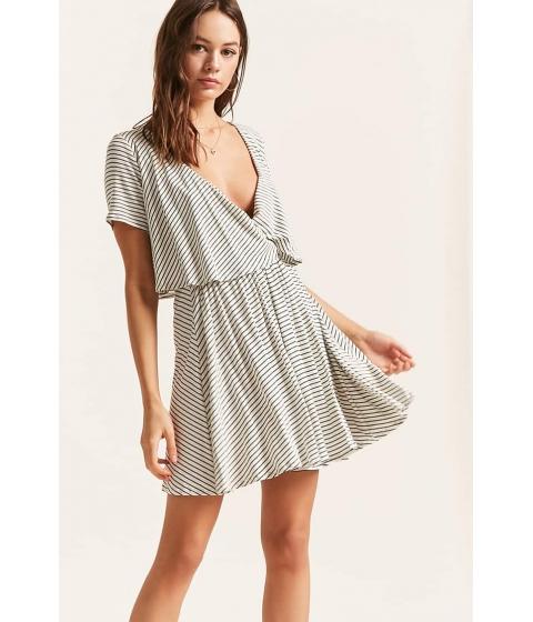 Imbracaminte Femei Forever21 Stripe Flounce Surplice Dress IVORY