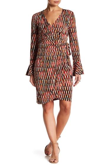 Imbracaminte Femei London Times Geo Print Surplice Neck Dress CORAL MULT