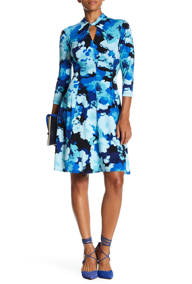 Imbracaminte Femei London Times Twist Neck Keyhole Fit Flare Dress SEA GREEN