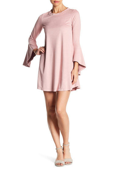 Imbracaminte Femei On The Road Radar Faux Suede Bell Sleeve Dress ROSE SUEDE
