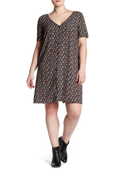 Imbracaminte Femei GLAMOROUS Flower Short Sleeve V-Neck Dress CANDY PINK DITSY