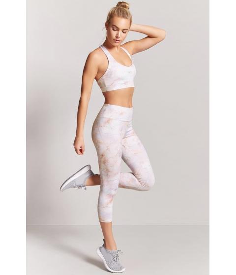 Imbracaminte Femei Forever21 Active Marble Print Capri Leggings WHITEMULTI