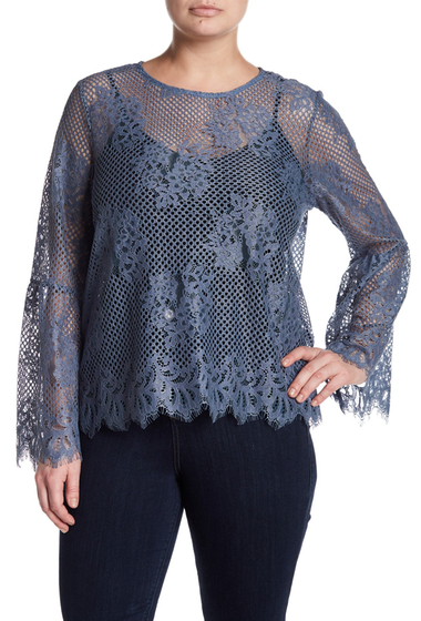Imbracaminte Femei GLAMOROUS Crochet Lace Bell Sleeve Top Plus Size DENIM BLUE