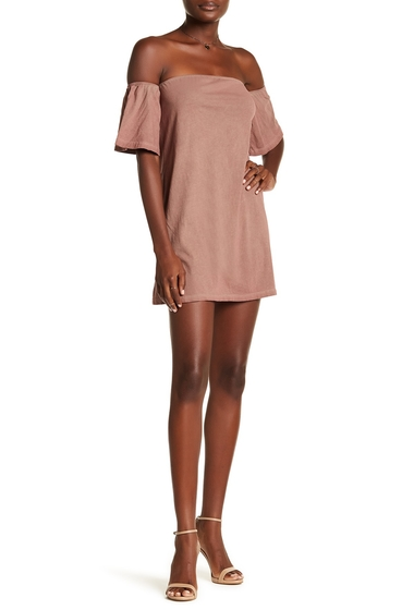 Imbracaminte Femei NYTT Off-the-Shoulder Sheath Dress RUST OIL WASH