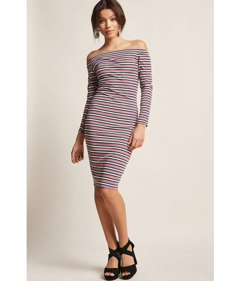 Imbracaminte Femei Forever21 Stripe Off-the-Shoulder Dress GREYMAUVE