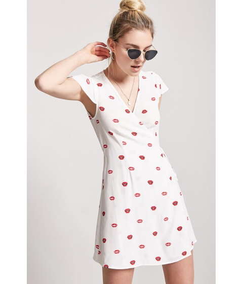 Imbracaminte Femei Forever21 Lip Print Wrap Dress WHITERED