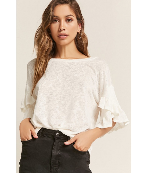 Imbracaminte Femei Forever21 Slub Knit Ruffle Top WHITE