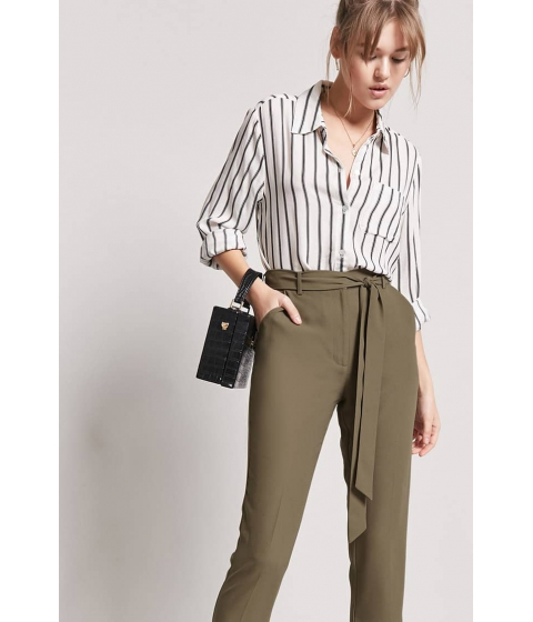 Imbracaminte Femei Forever21 Crepe High-Waist Trousers OLIVE