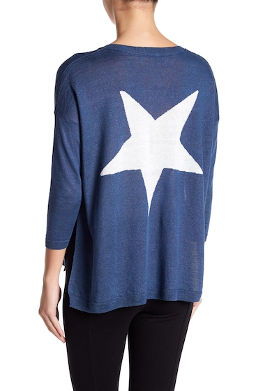 Imbracaminte Femei 360 Cashmere Aruna Back Star Hi-Lo Linen Sweater DENIM-WHITE STAR