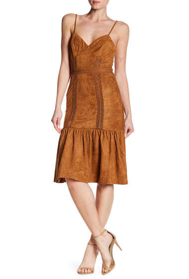 Imbracaminte Femei Flying Tomato Faux Suede Lace Detailed Dress CAMEL