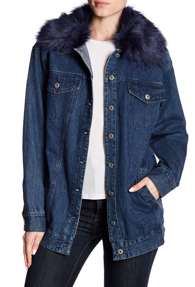 Imbracaminte Femei Flying Tomato Detachable Faux Fur Collared Denim Jacket INDIGO