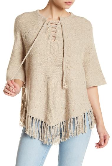 Imbracaminte Femei Joie Pedra Lace-Up Fringe Wool Blend Knit Top OATMEAL