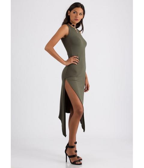 Imbracaminte Femei CheapChic At A Slant Asymmetrical Slit Dress Olive