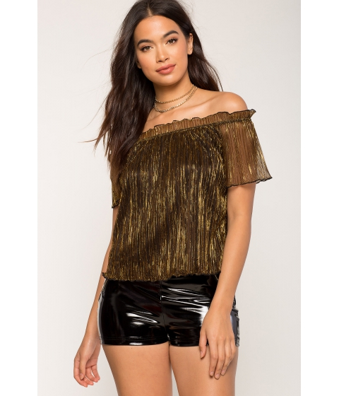 Imbracaminte Femei CheapChic Allison Lurex Off Shoulder Metallic Gold