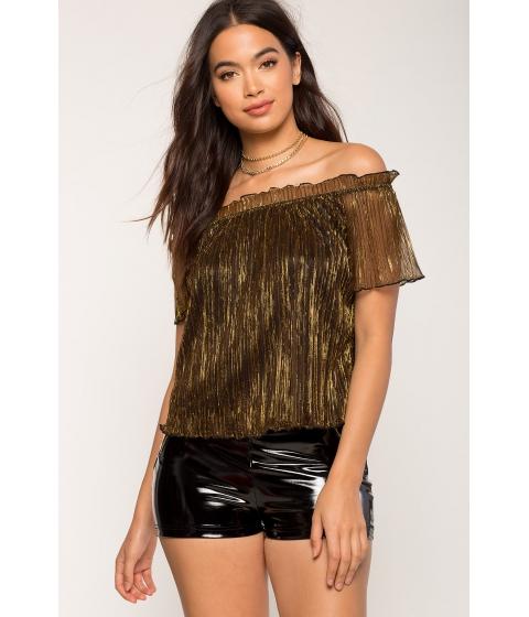 Imbracaminte Femei CheapChic Allison Lurex Off Shoulder Metallic Gold
