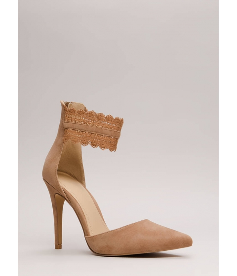 Incaltaminte Femei CheapChic Cuff Love Pointy Crochet Strap Heels Taupe