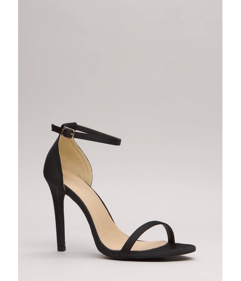 Incaltaminte Femei CheapChic The Skinny Satin Ankle Strap Heels Black