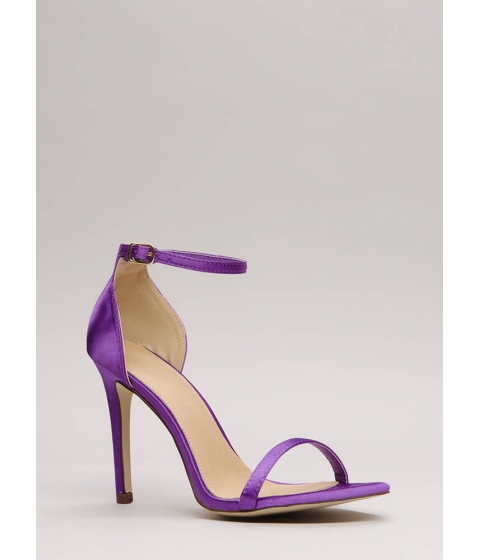 Incaltaminte Femei CheapChic The Skinny Satin Ankle Strap Heels Purple