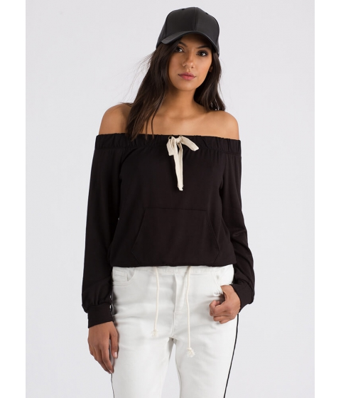 Imbracaminte Femei CheapChic Taking The Day Off-shoulder Sweatshirt Black
