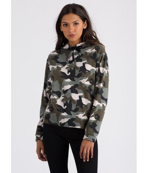 Imbracaminte Femei CheapChic Pull Ranks Camo Print Drawstring Hoodie Camouflage